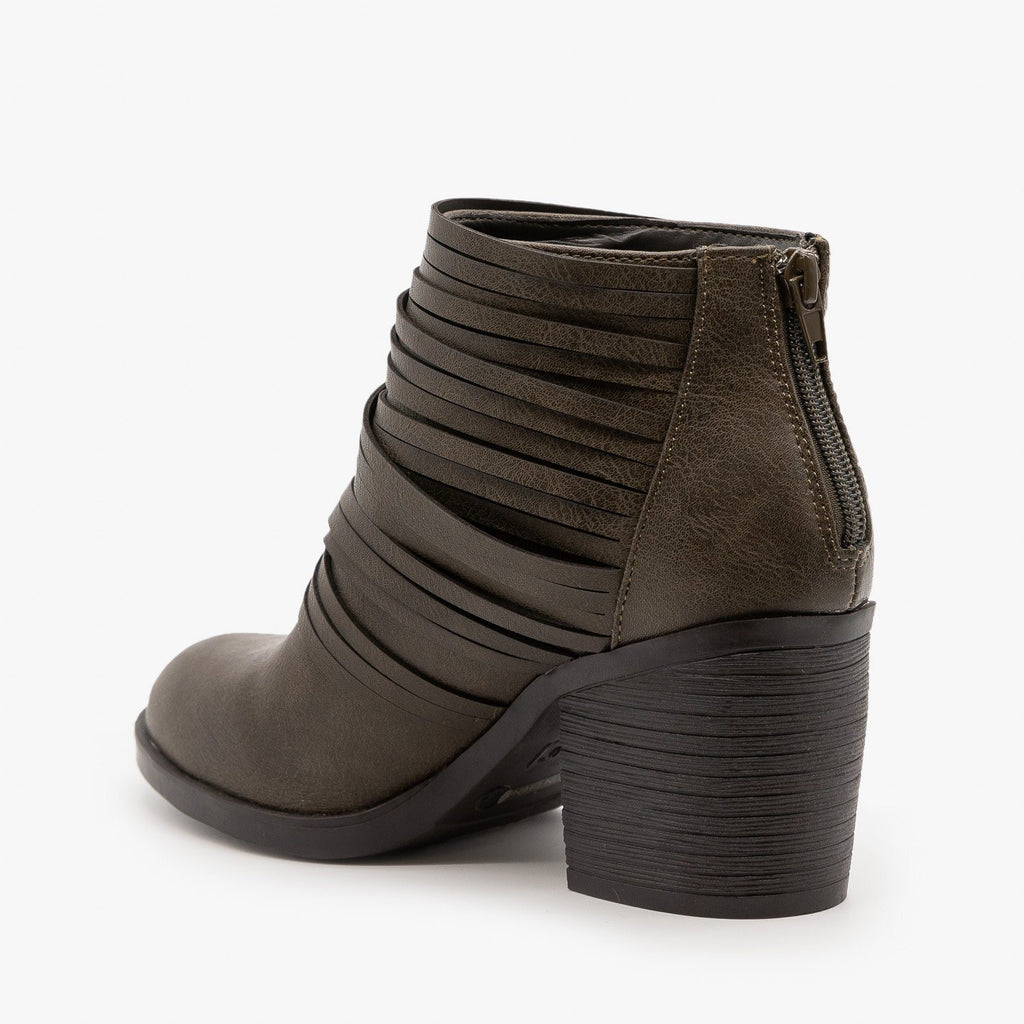 Womens Slit Strappy Booties - Bamboo Shoes