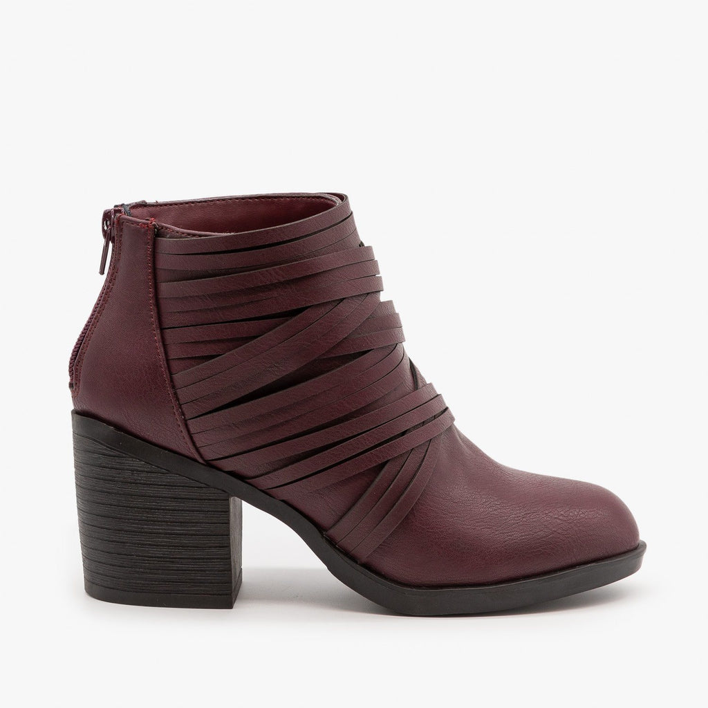 Womens Slit Strappy Booties - Bamboo Shoes - Wine / 5