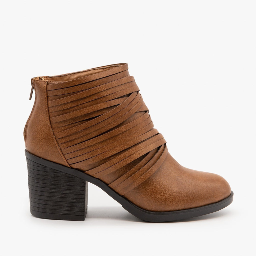 Womens Slit Strappy Booties - Bamboo Shoes - Camel / 5