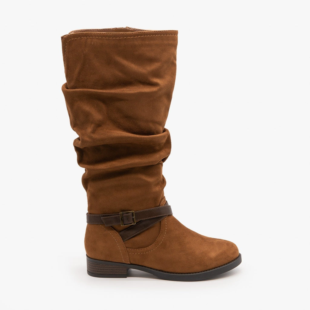Womens Slouchy Belted Boots - Soda Shoes - Chestnut / 5