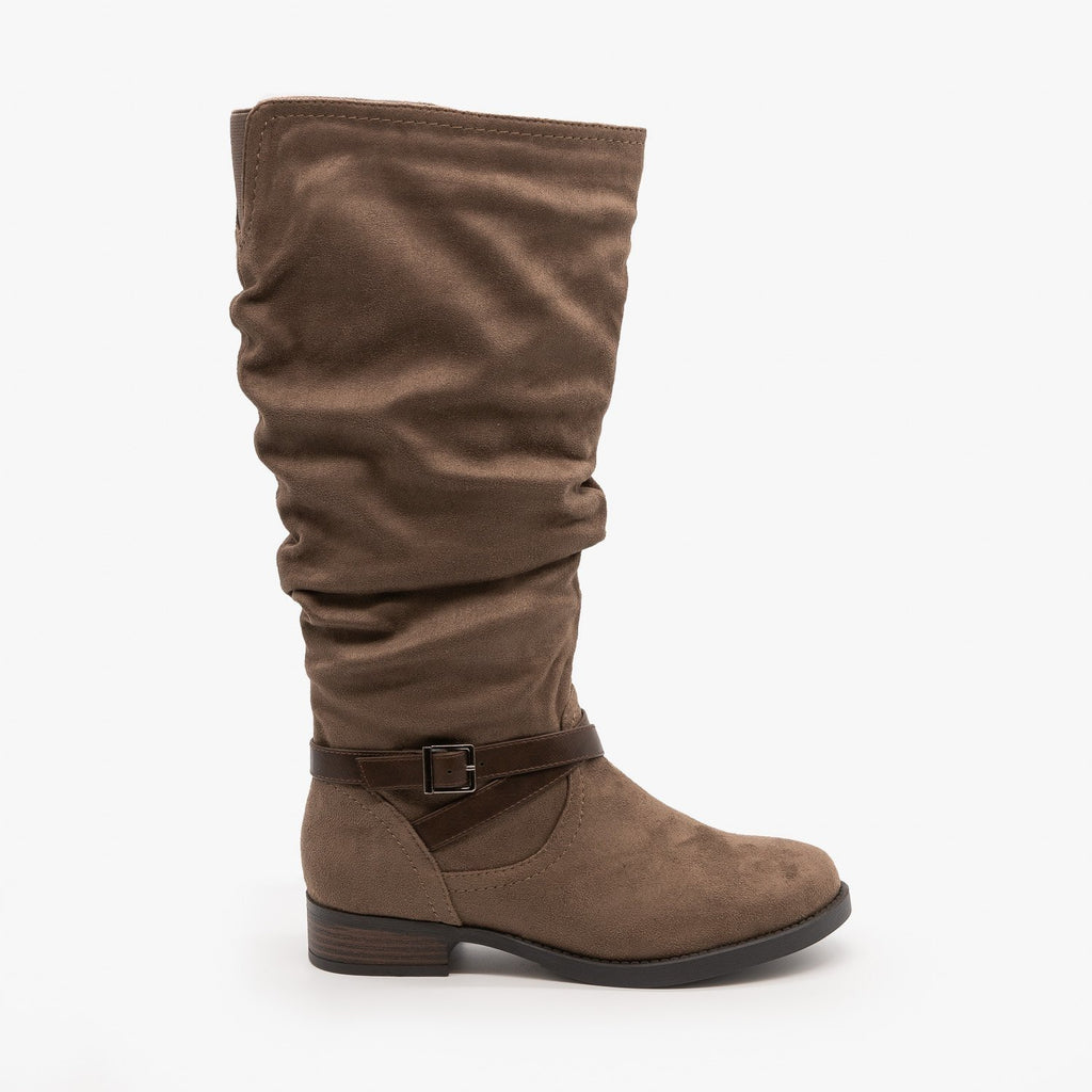Womens Slouchy Belted Boots - Soda Shoes - Dark Taupe / 5