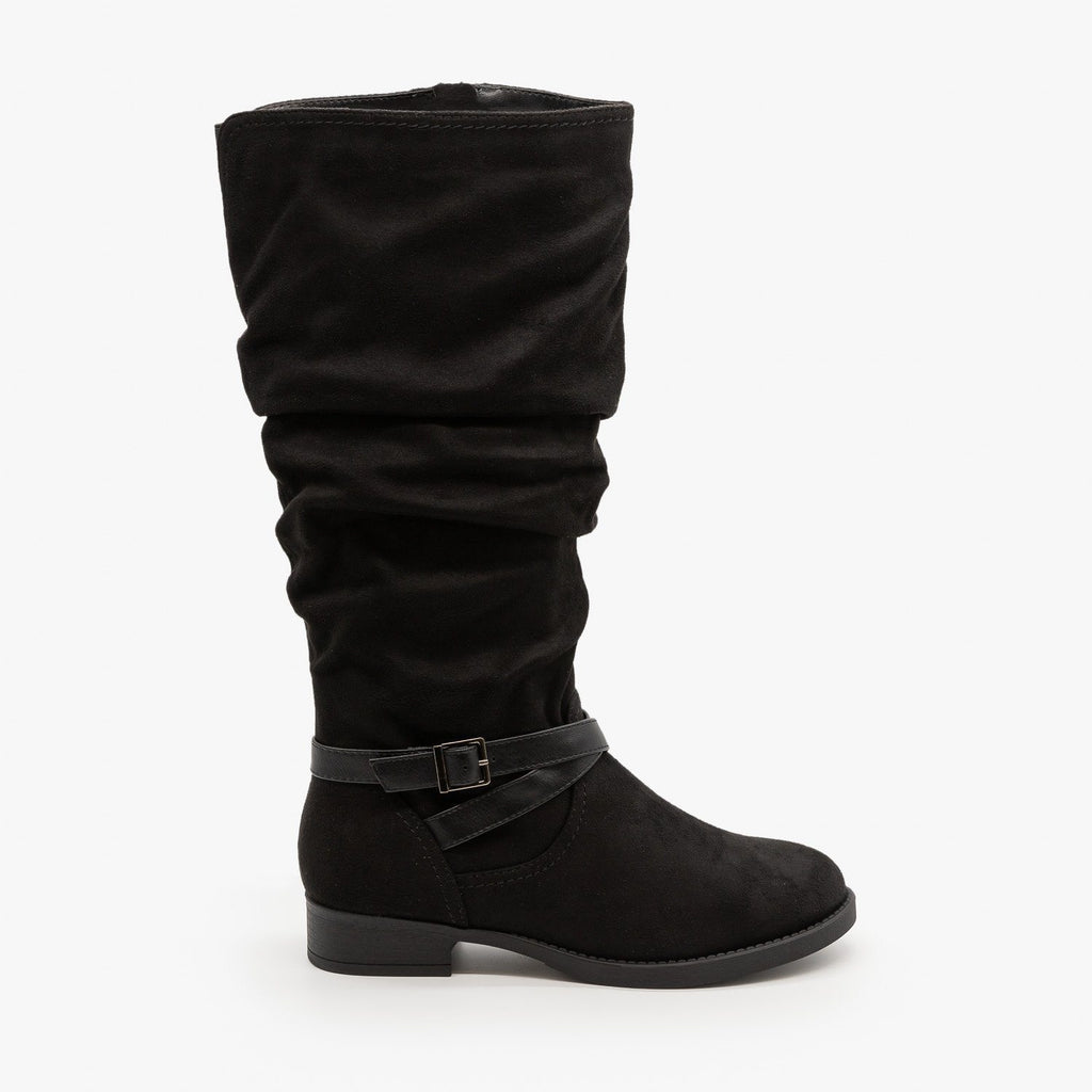 Womens Slouchy Belted Boots - Soda Shoes - Black / 5