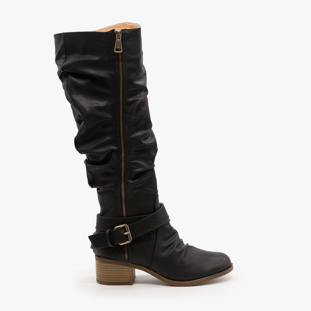 Womens Slouchy Belted Riding Boots - AMS Shoes - Black / 5