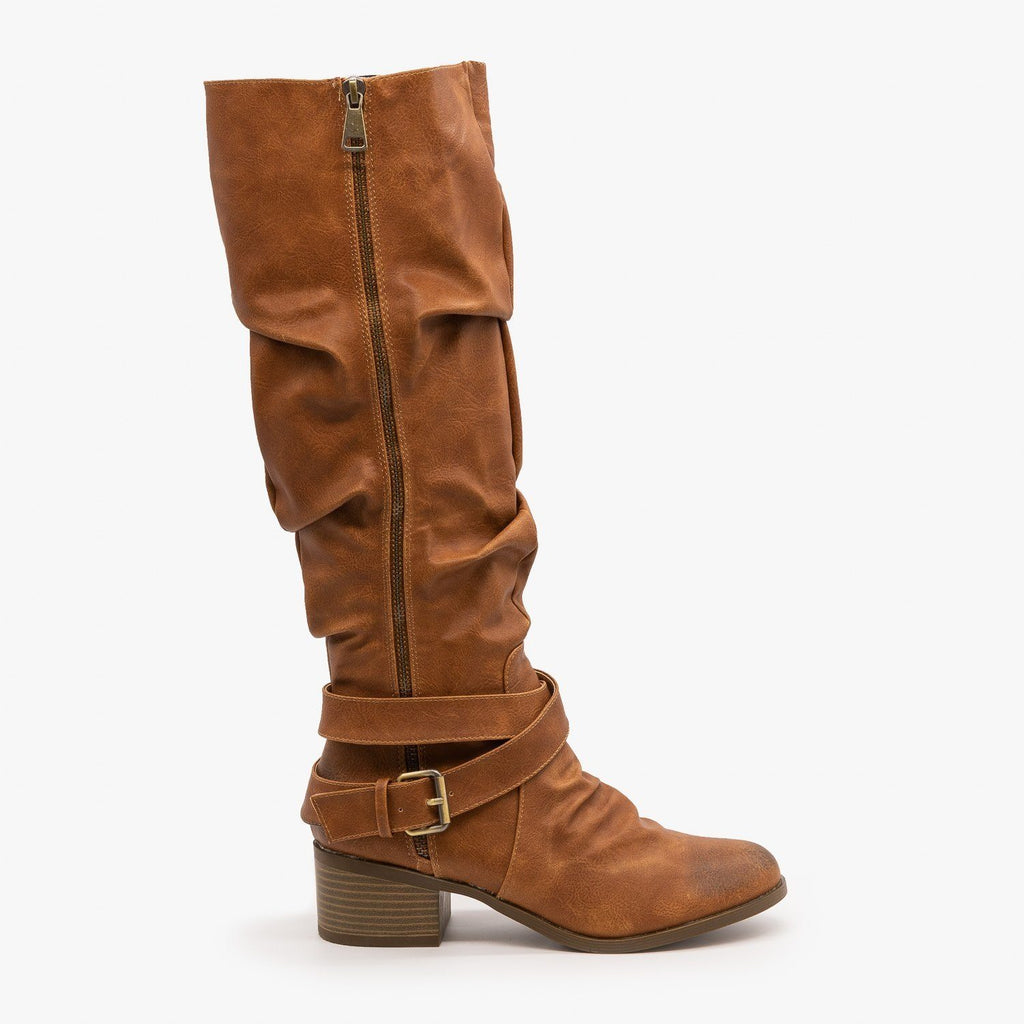 Womens Slouchy Belted Riding Boots - AMS Shoes - Tan / 5