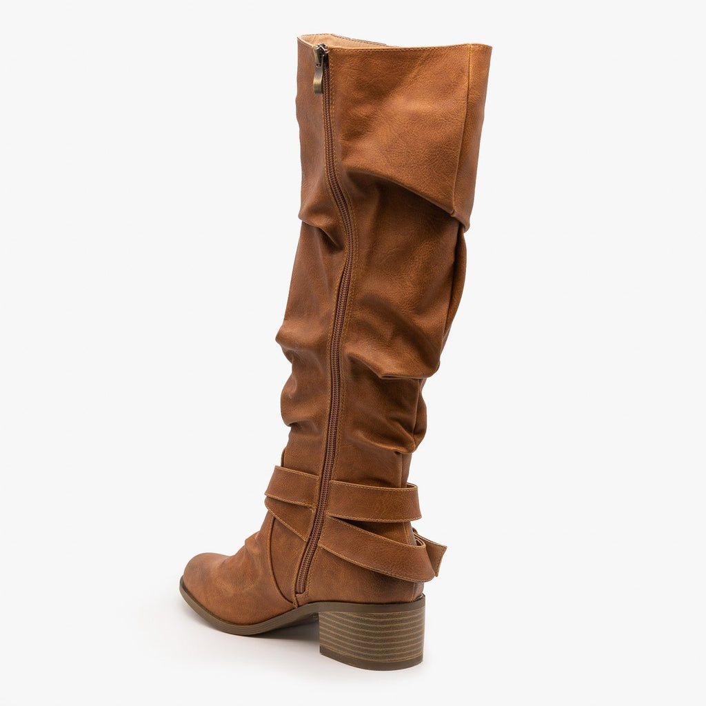 Womens Slouchy Belted Riding Boots - AMS Shoes