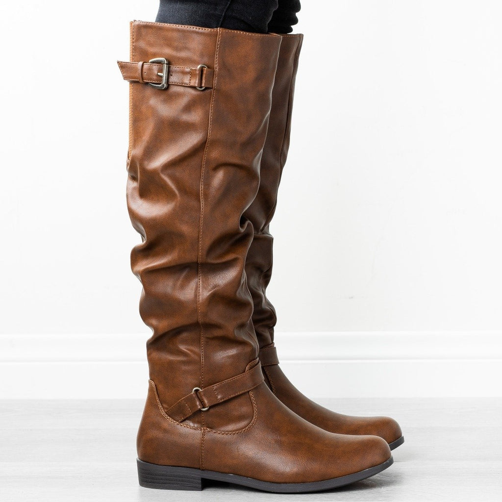 Womens Slouchy Buckled Riding Boots - Refresh - Cognac / 5