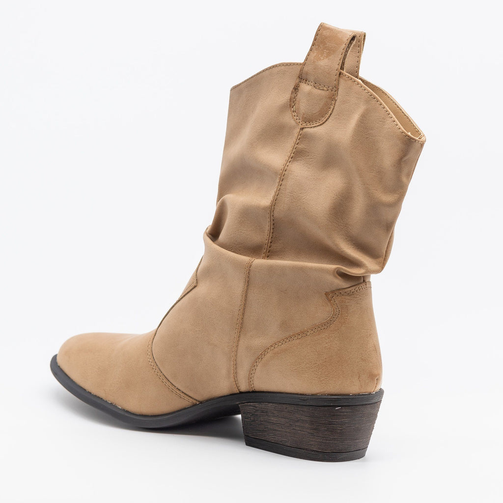 Womens Slouchy Cowgirl Boots - Bamboo Shoes