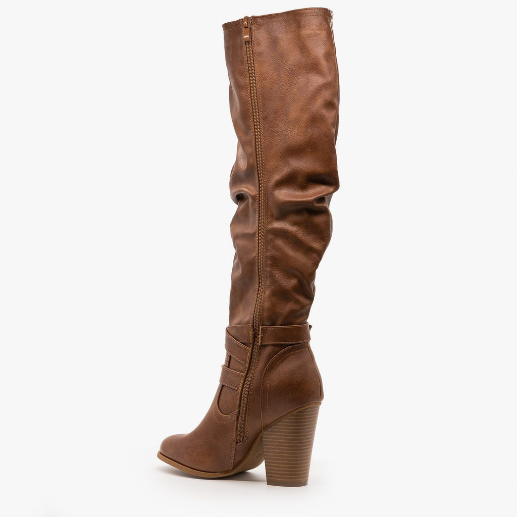Womens Slouchy Knee-High Buckle Boots - Fashion Focus
