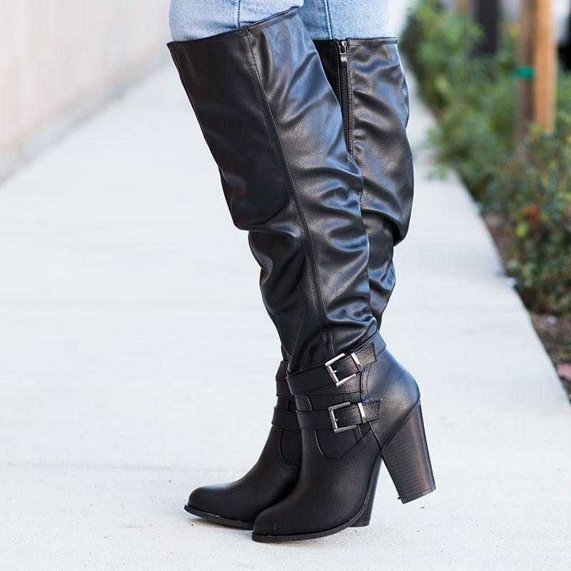 Womens Slouchy Knee-High Buckle Boots - Fashion Focus - Black / 5