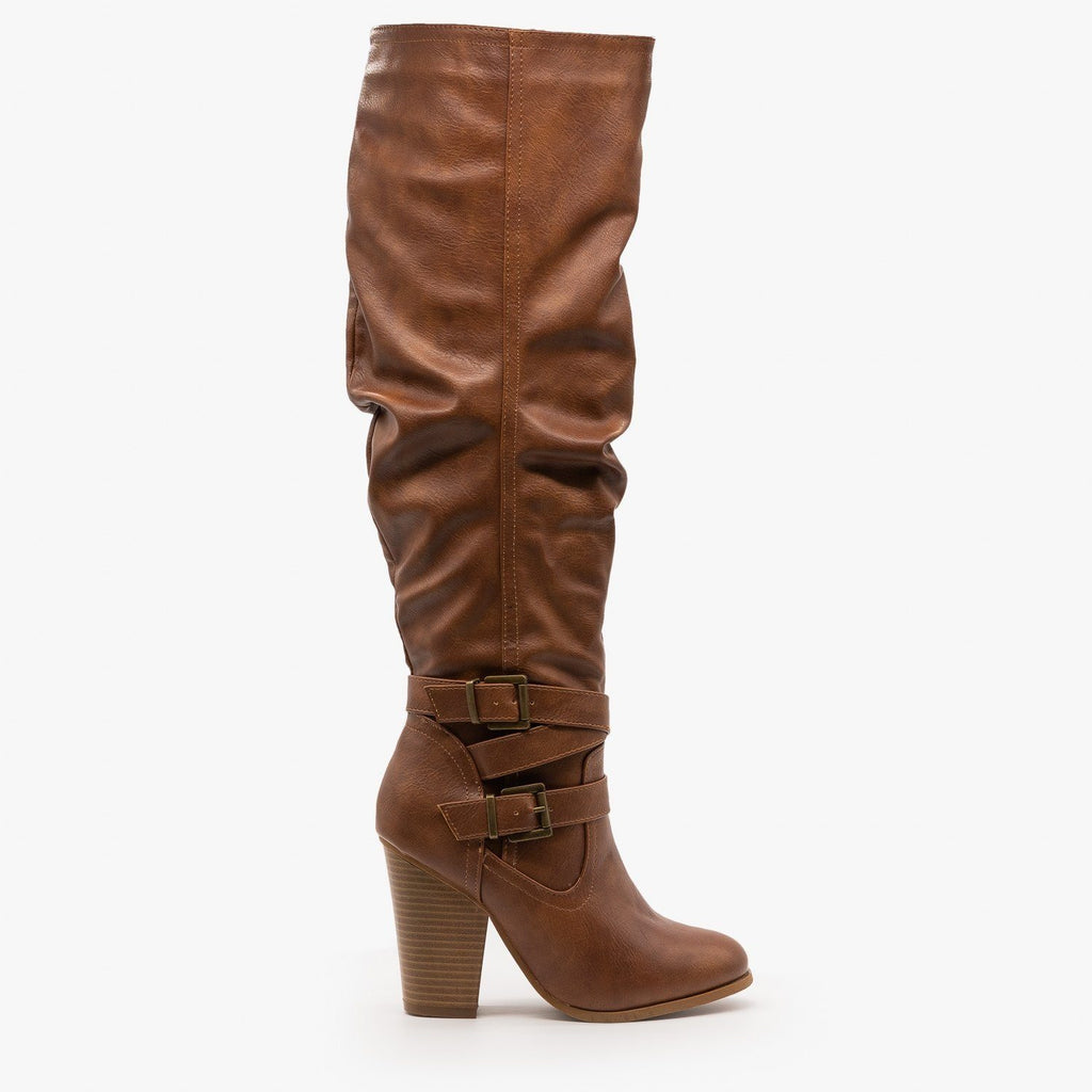 Womens Slouchy Knee-High Buckle Boots - Fashion Focus - Light Tan / 5