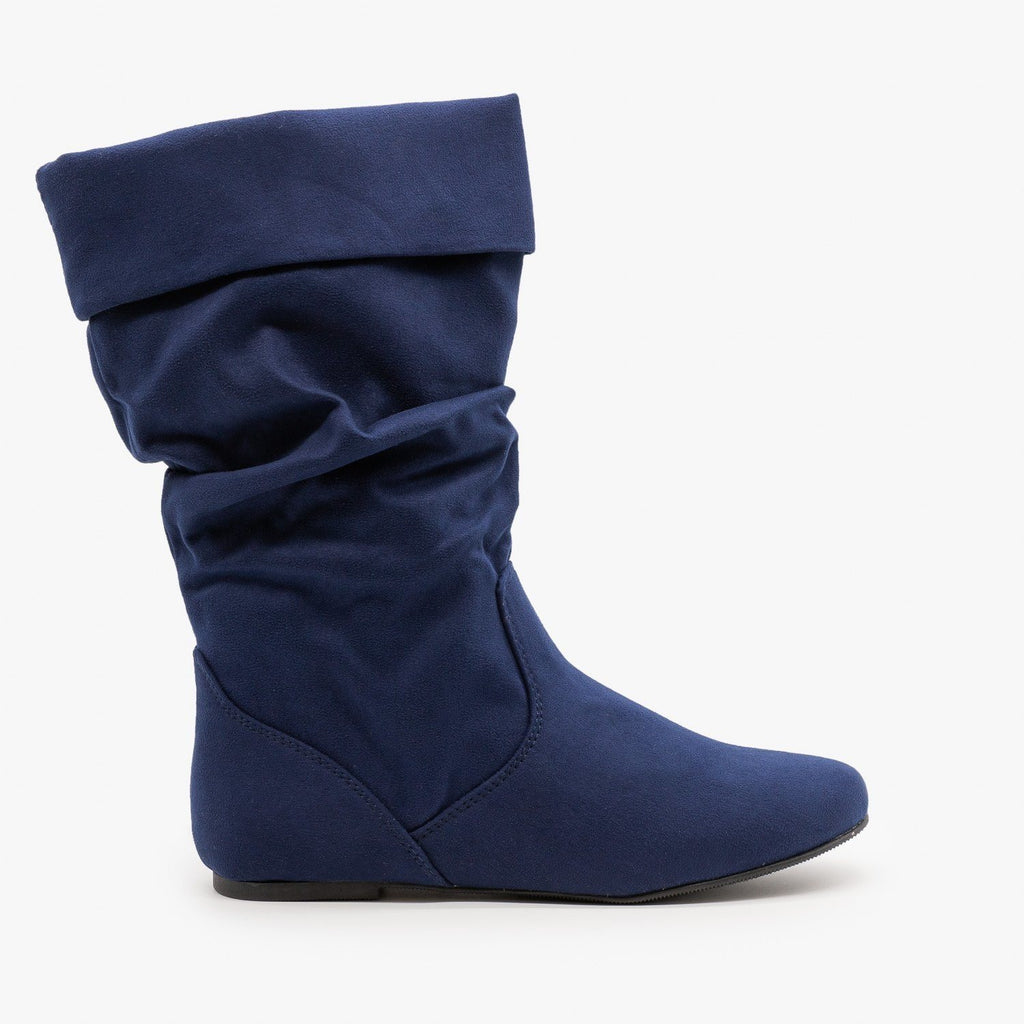 Womens Slouchy Mid-Calf Boots - Soda Shoes - Navy / 5