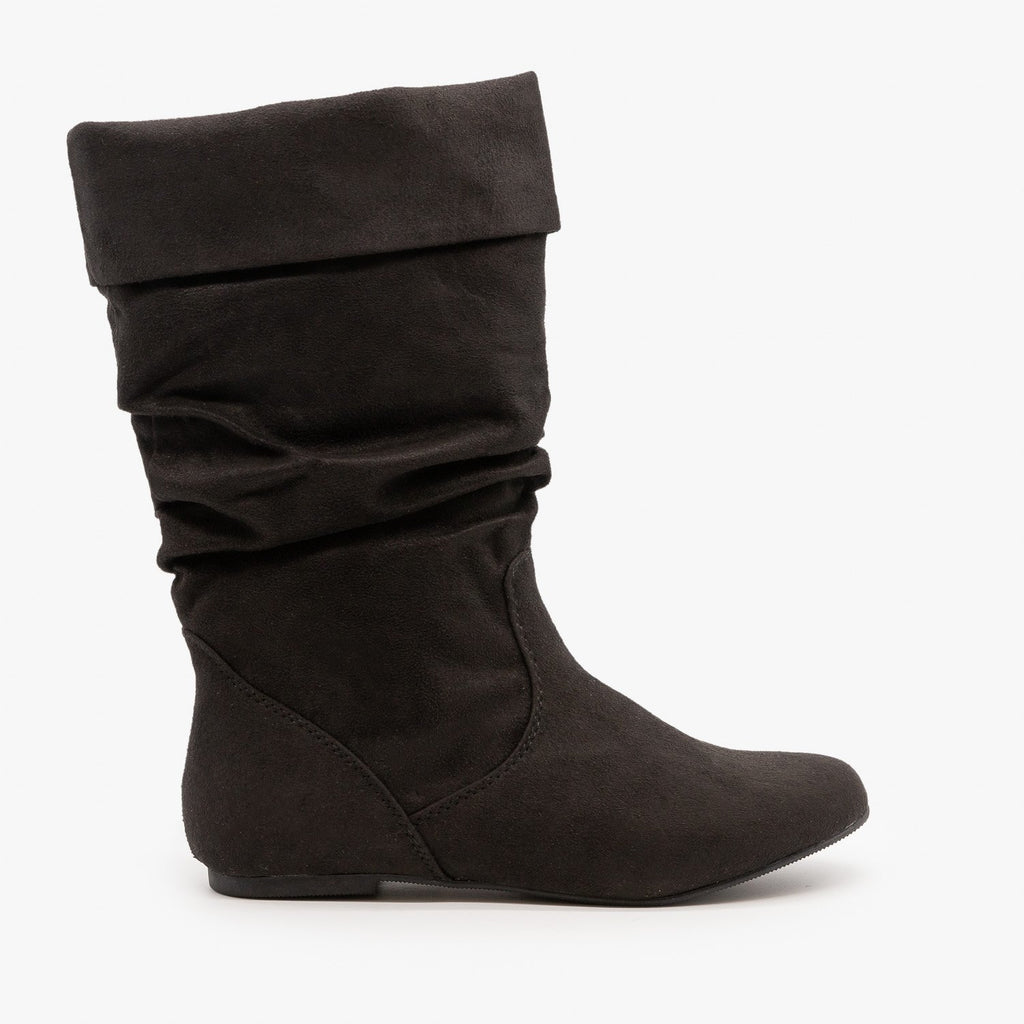 Womens Slouchy Mid-Calf Boots - Soda Shoes - Black / 5
