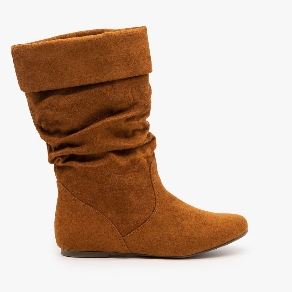 Womens Slouchy Mid-Calf Boots - Soda Shoes - Burnt Tan / 5