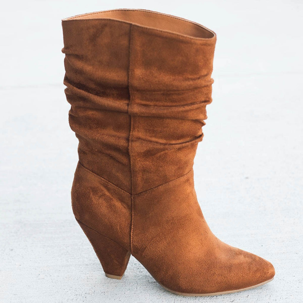 Womens Slouchy Mid Calf Diva Boots - Nature Breeze - Camel / 5
