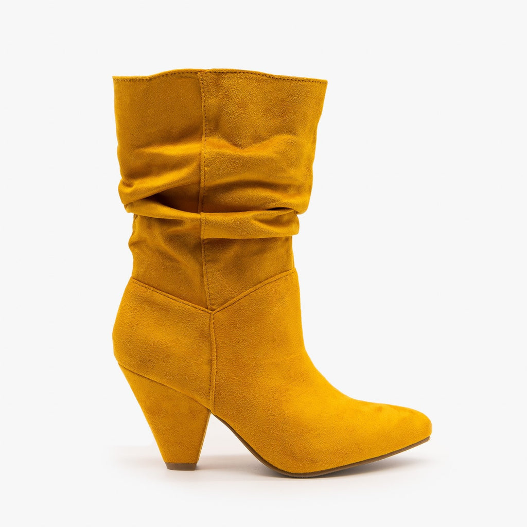 Womens Slouchy Mid Calf Diva Boots - Nature Breeze - Mustard / 5
