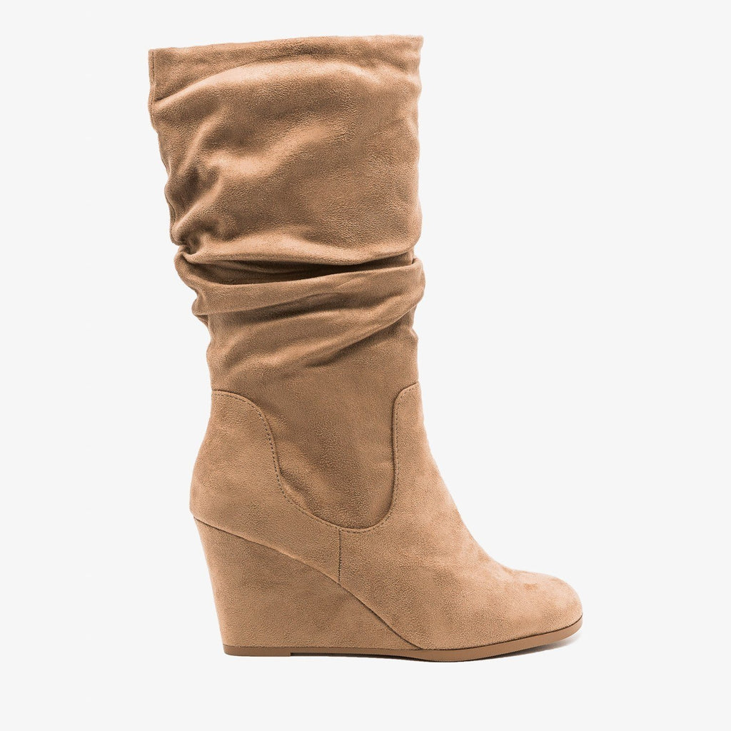 Womens Slouchy Wedged Boots - Soda Shoes - Warm Taupe / 5