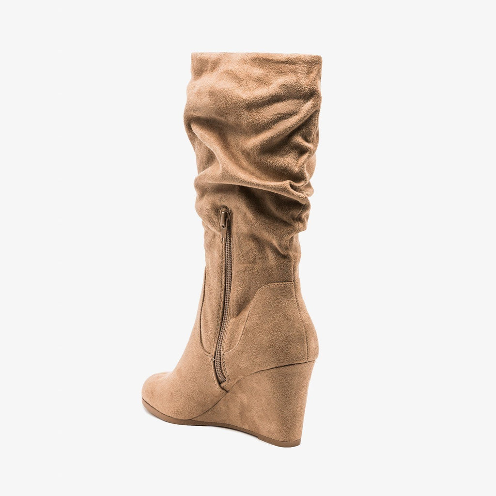 Womens Slouchy Wedged Boots - Soda Shoes
