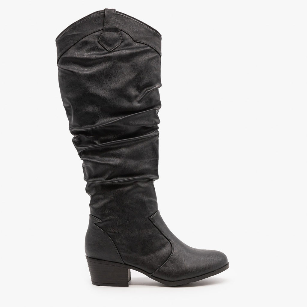 Womens Slouchy Western Riding Boots - Top Moda - Black / 5