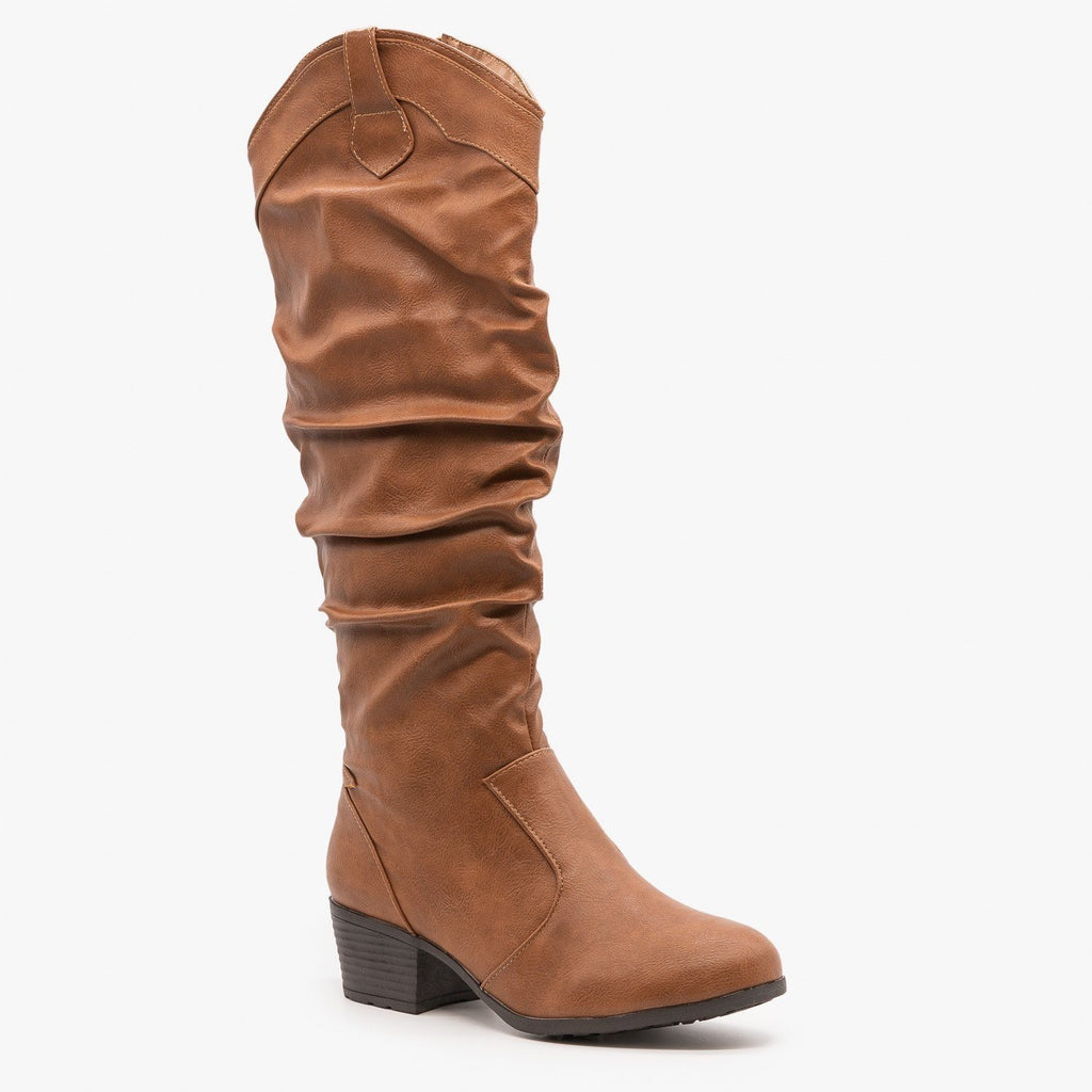 Womens Slouchy Western Riding Boots - Top Moda
