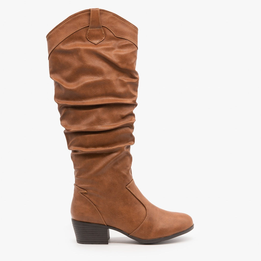 Womens Slouchy Western Riding Boots - Top Moda - Tan / 5
