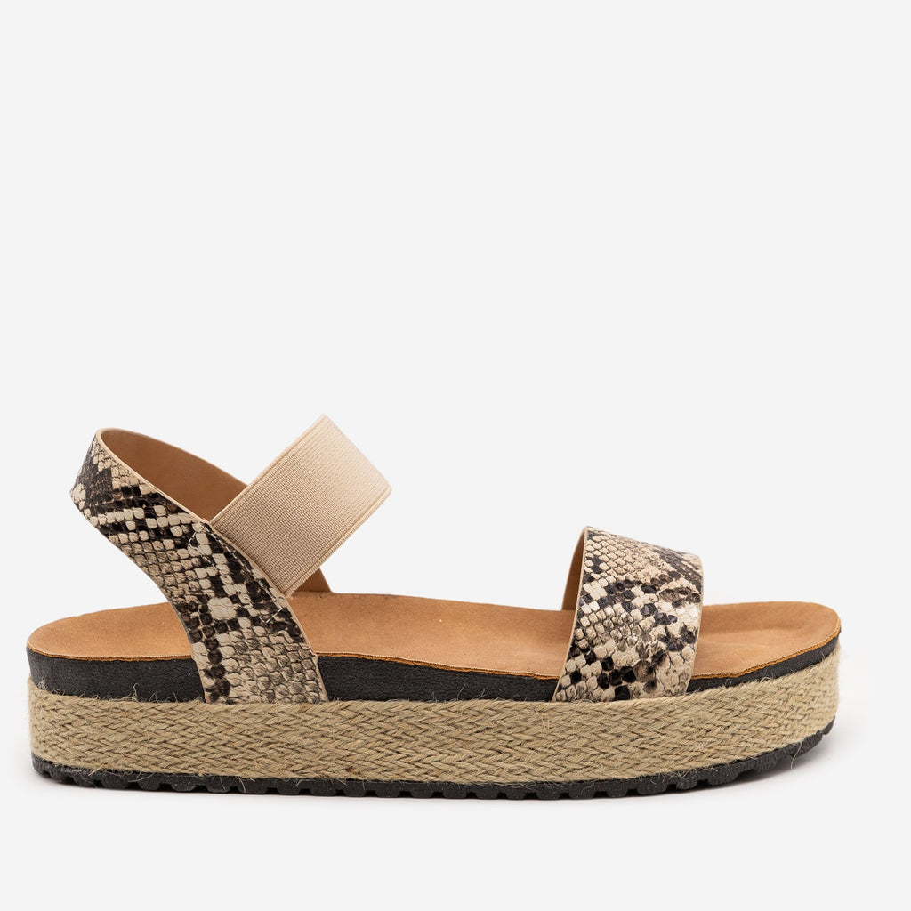 Women's Snake Espadrille Elastic Sandals - Anna Shoes - Snake / 5