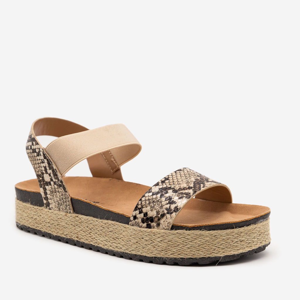 Women's Snake Espadrille Elastic Sandals - Anna Shoes
