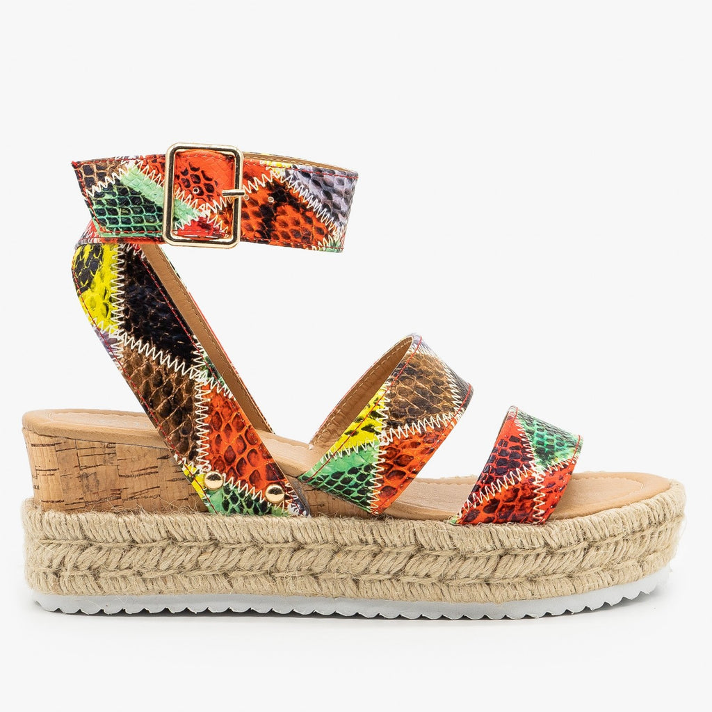 Womens Snake Espadrille Wedge Sandals - Nature Breeze - Red Snake / 5