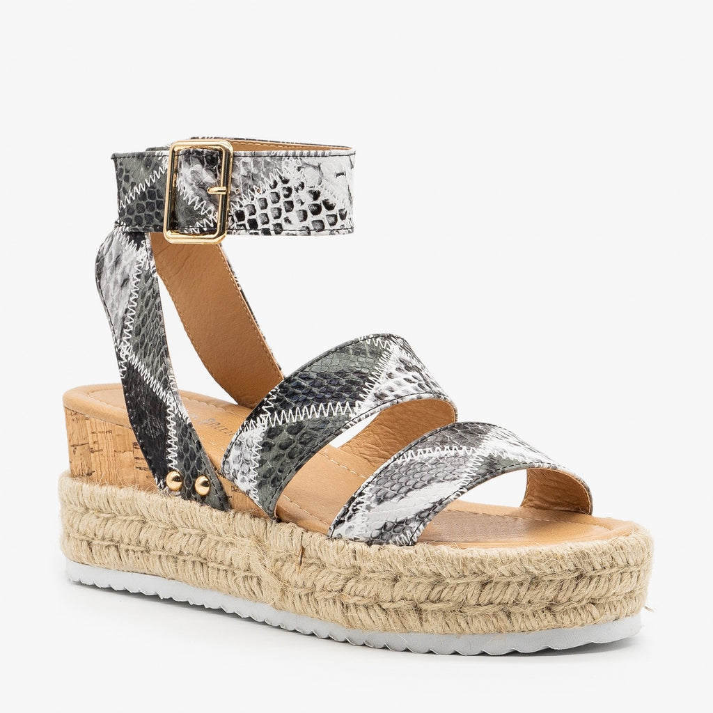 Womens Snake Espadrille Wedge Sandals - Nature Breeze