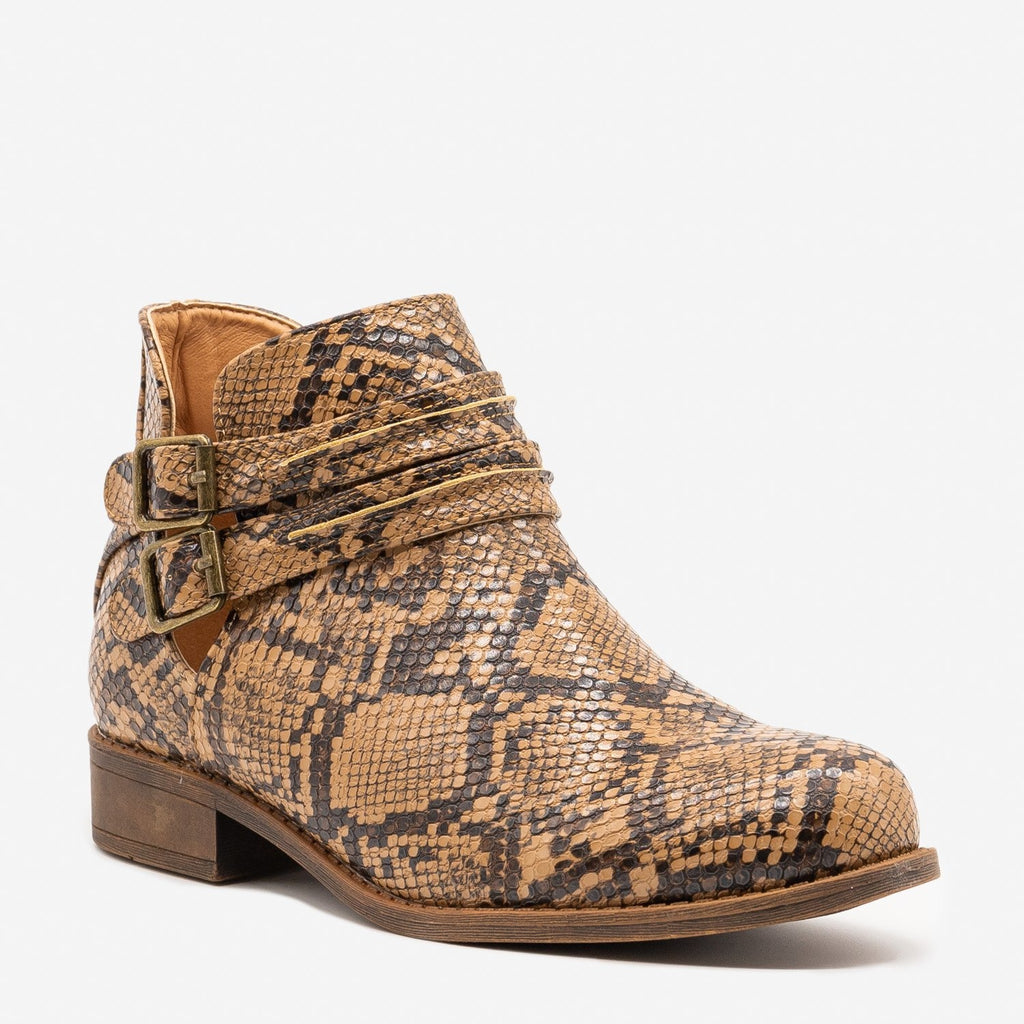 Women's Snake Print Casual Booties - Mata