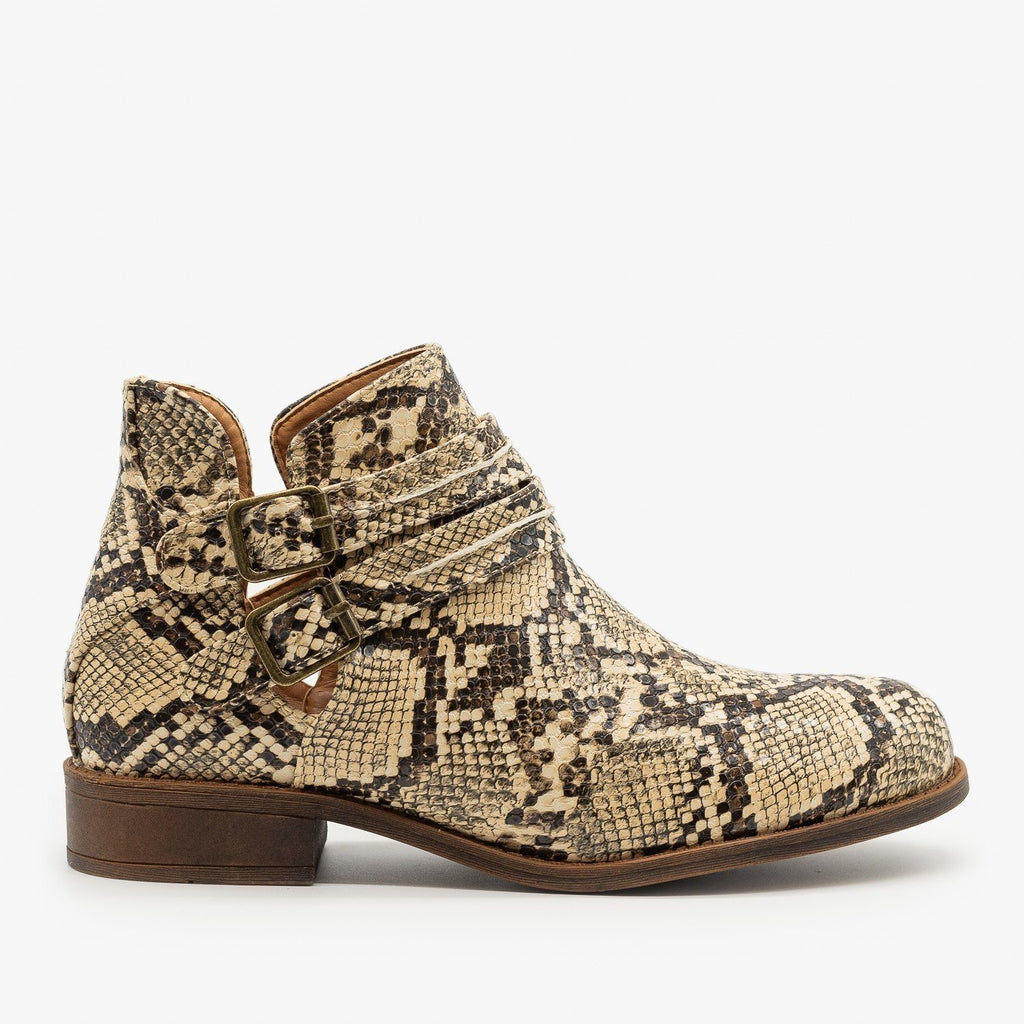 Womens Snake Print Casual Booties - Mata - Coffee Snake / 5