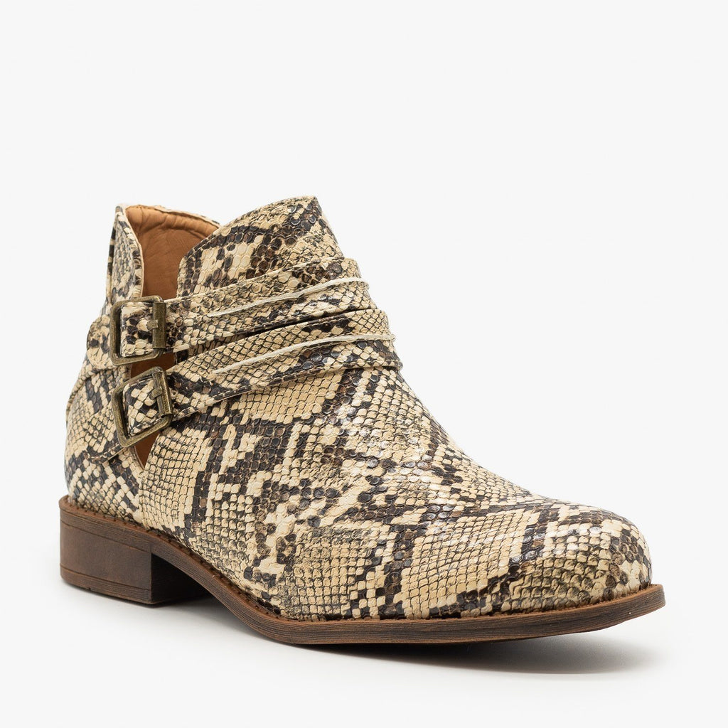 Womens Snake Print Casual Booties - Mata