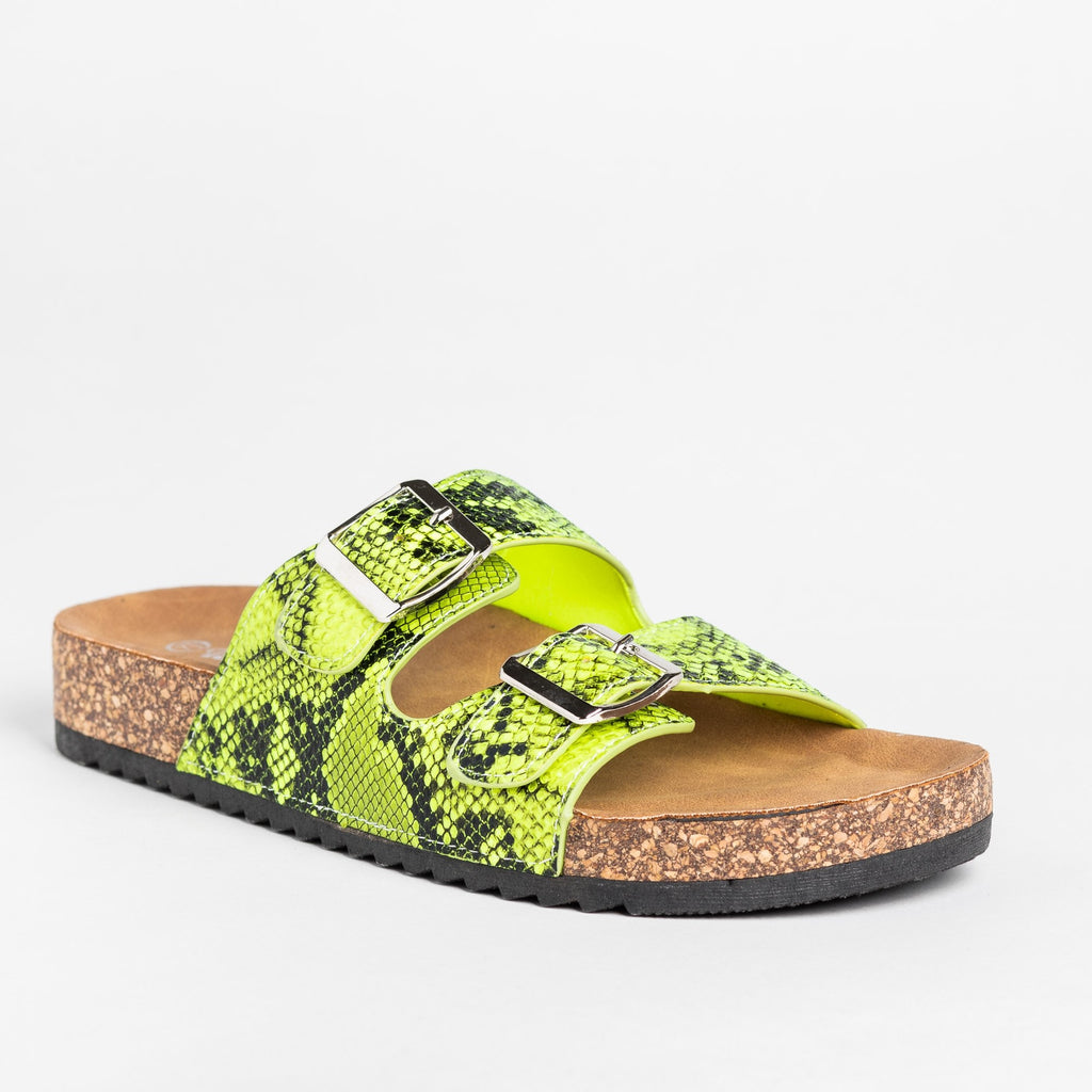 Womens Snake Print Double Buckle Sandals - Weeboo - Green Snake / 5