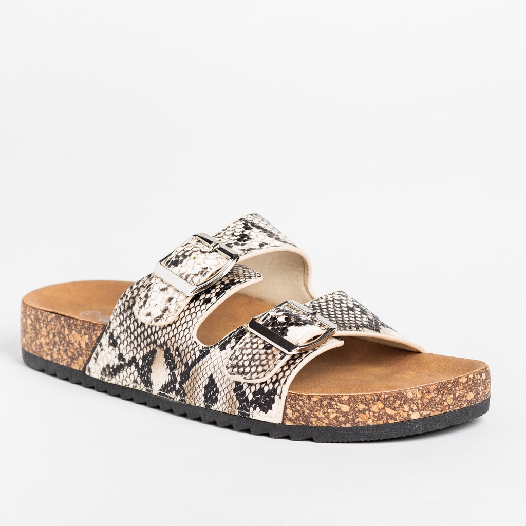 Womens Snake Print Double Buckle Sandals - Weeboo - Beige Snake / 5