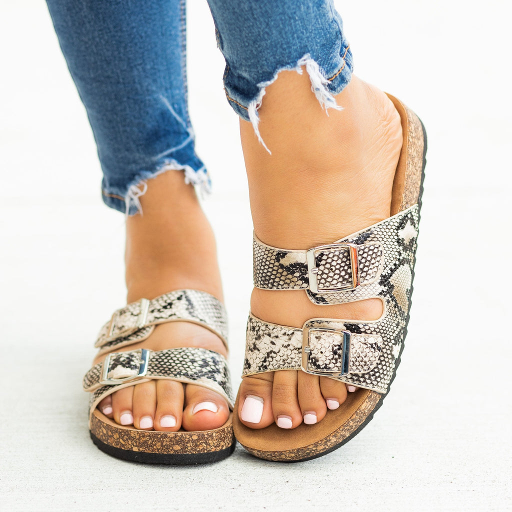 Womens Snake Print Double Buckle Sandals - Weeboo
