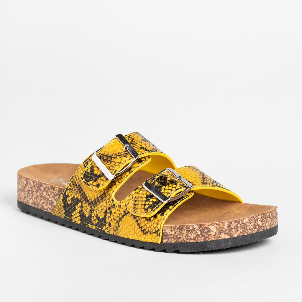 Womens Snake Print Double Buckle Sandals - Weeboo - Yellow Snake / 5