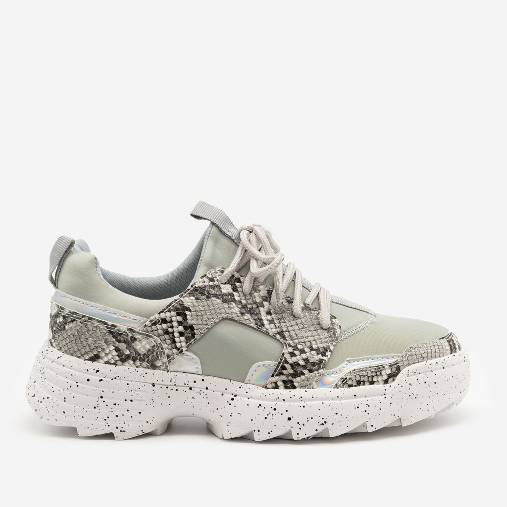 Women's Snake Print Fashion Sneakers - La Sheelah Shoes