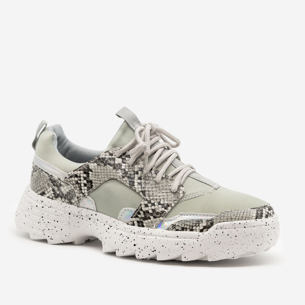 Women's Snake Print Fashion Sneakers - La Sheelah Shoes - Gray Snake / 5