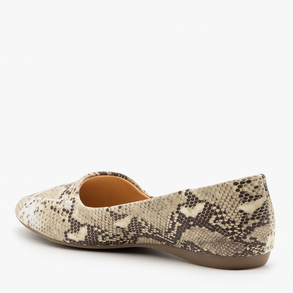 Womens Snake Print Pointed Toe Loafers - Mixx Shoes