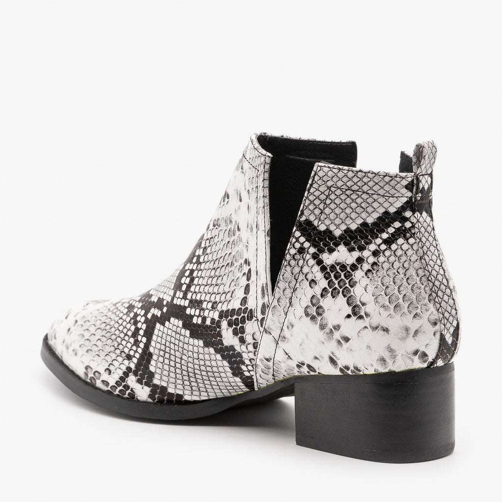 Womens Snake Print Side V-Cut Booties - ARider Girl