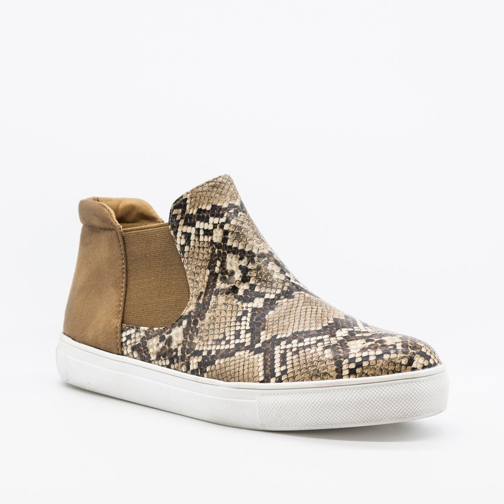 Womens Snake Print Slip-On Ankle Sneakers - Soho Girls