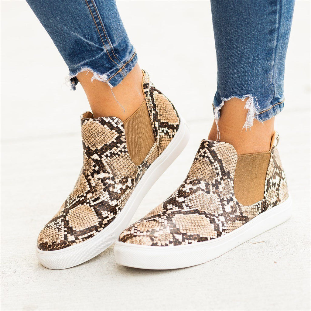 Womens Snake Print Slip-On Ankle Sneakers - Soho Girls - Beige Snake / 5