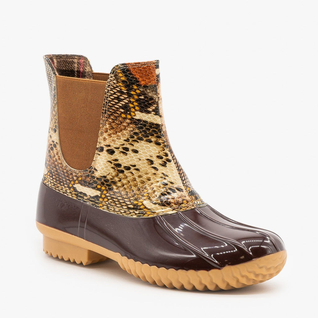 Womens Snake Print Slip On Duck Boots - Nature Breeze
