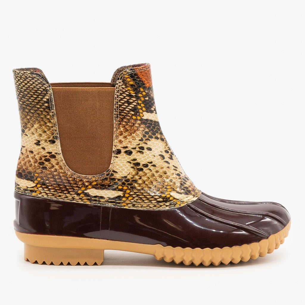 Womens Snake Print Slip On Duck Boots - Nature Breeze - Brown Multi / 5