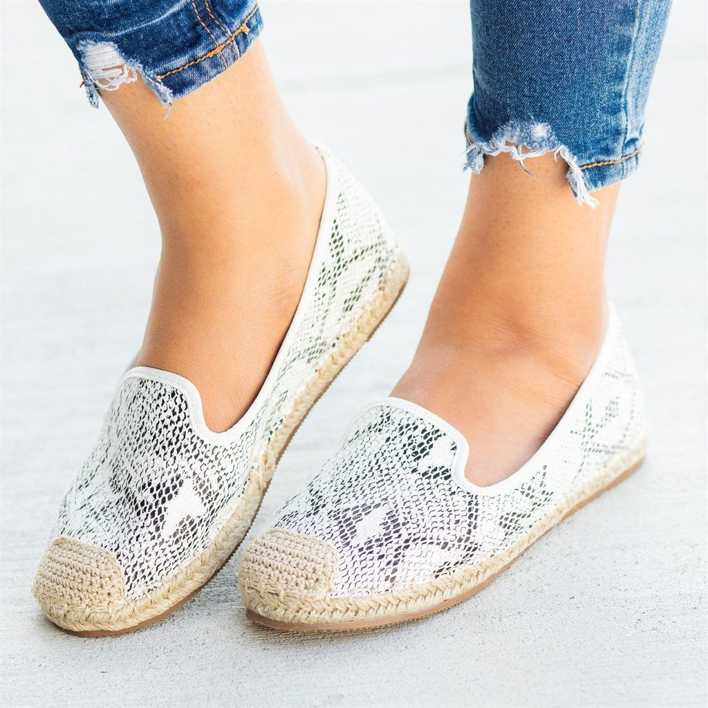Womens Snake Print Slip-On Espadrille Flats - Pazzle - White / 5