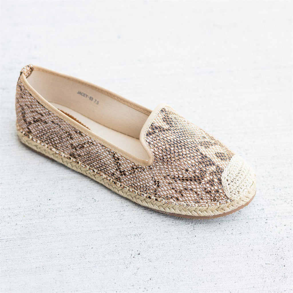 Womens Snake Print Slip-On Espadrille Flats - Pazzle