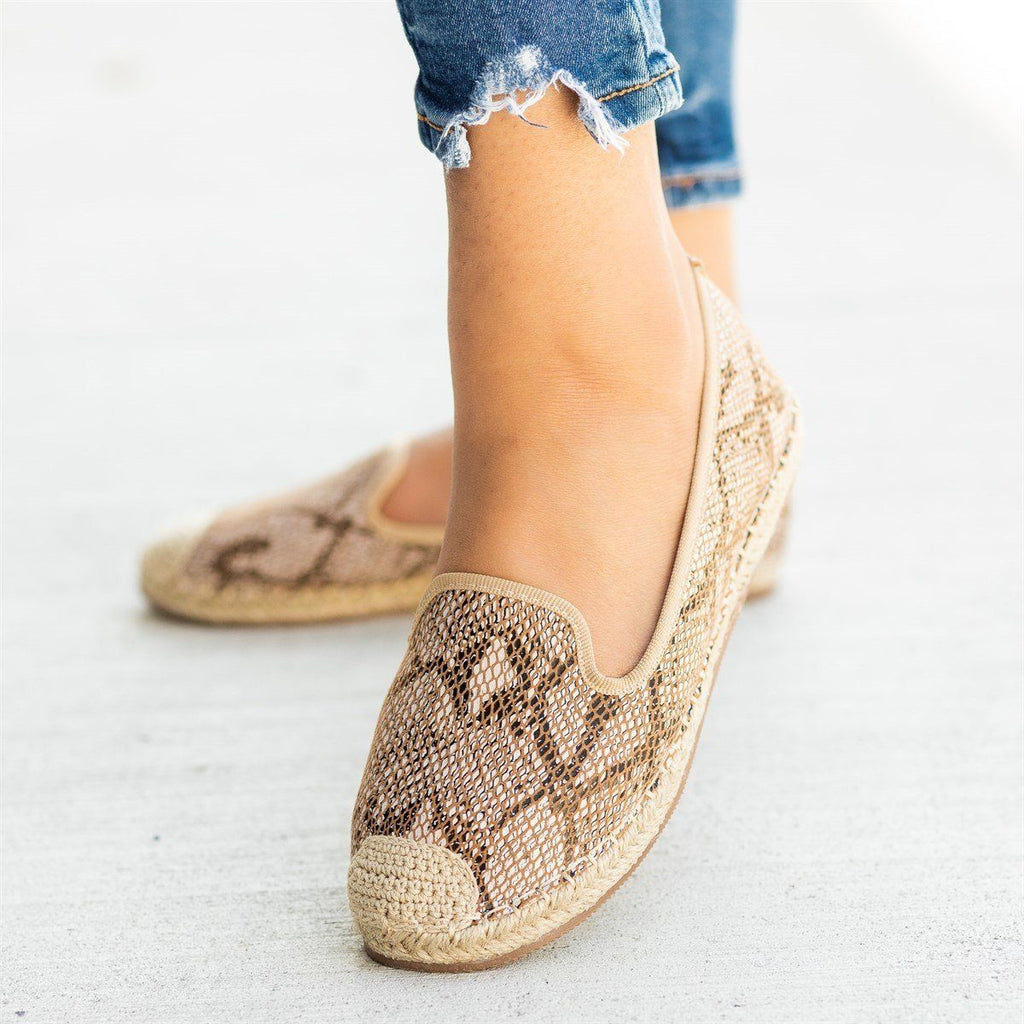 Womens Snake Print Slip-On Espadrille Flats - Pazzle - Natural / 5