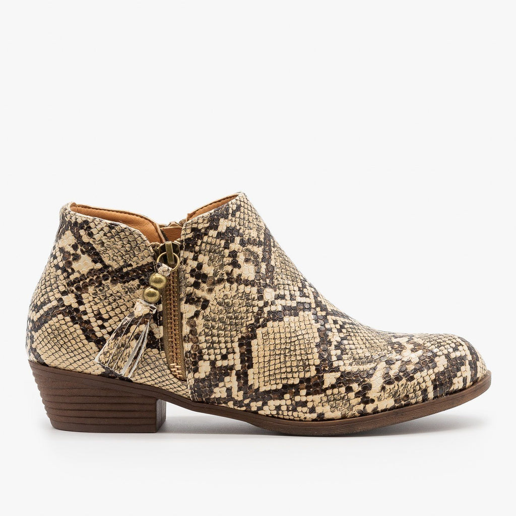 Womens Snake Print Tasseled Booties - Mata - Coffee Snake / 5