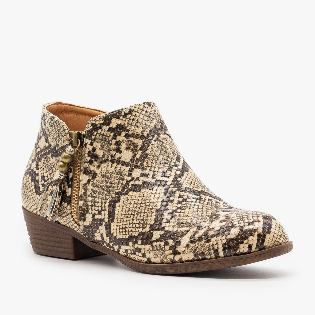 Womens Snake Print Tasseled Booties - Mata