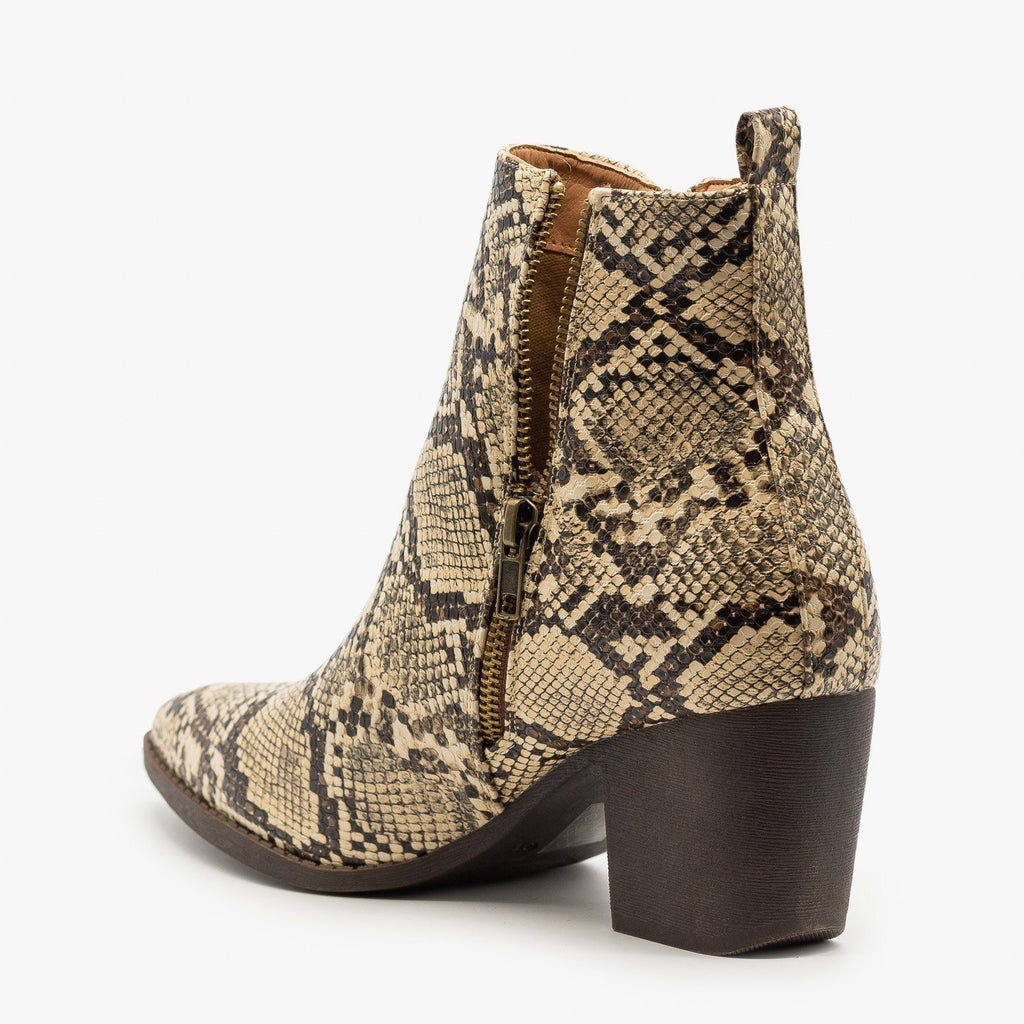 Womens Snake Side Zippered Booties - Mata