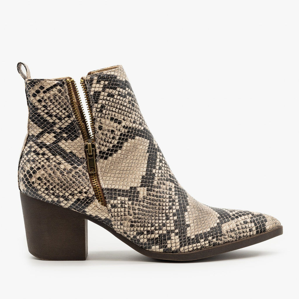 Womens Snake Side Zippered Booties - Mata - Beige Snake / 5
